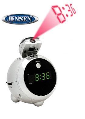 JCR-222 AM/FM Projection Clock Radio Silver