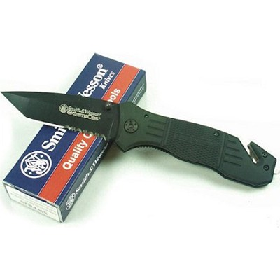 SWFR2S Extreme Ops Knife with Coated Tanto Blade w/ Rubber Coated Handle - Black