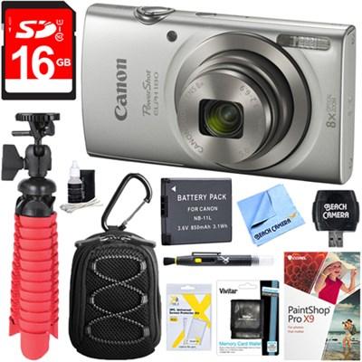 PowerShot ELPH 180 8x Optical Zoom Digital Camera (Silver) + 16GB Accessory Kit