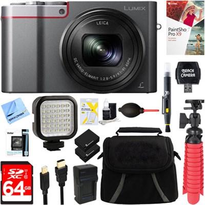 LUMIX DMC-ZS100S 20 MP Digital Camera (Silver) + 64GB Dual Battery Deluxe Bundle