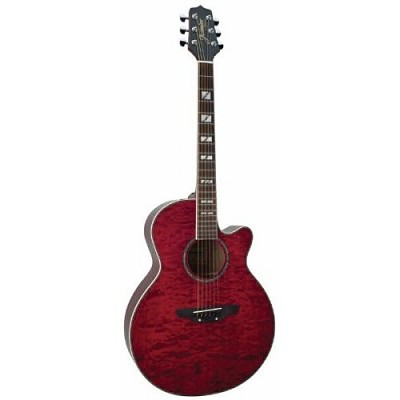 ES450C NEX Cutaway Acoustic-Electric Guitar with Free Hardshell Case - Red Quilt