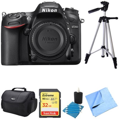 D7200 DX-Format 24.2MP Digital HD-SLR Body with 3.2` LCD WiFi NFC 32GB Bundle
