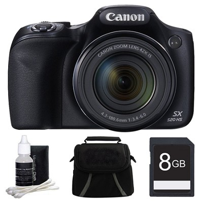 SX520 HS 16MP 42x Opt Zoom 1080p Full HD Digital Camera Deluxe Bundle