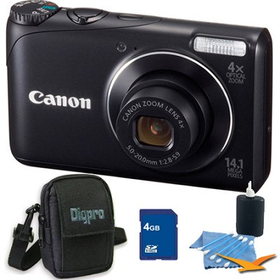 PowerShot A2200 14MP Black Digital Camera 4GB Bundle