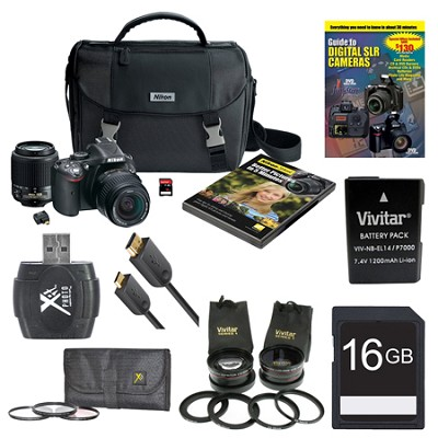 D5200 24.1MP DSLR Camera Kit w/ 18-55mm & 55-200mm Black 4 lens Ultra pack