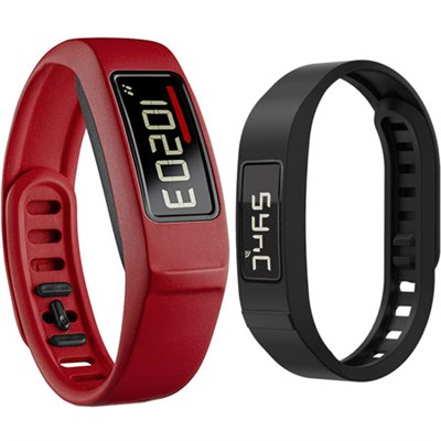 Vivofit 2 Bluetooth Fitness Band (Red) with Replacement Black Band