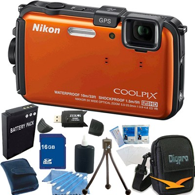 COOLPIX AW100 16MP Waterproof Shockproof Freezeproof Orange Camera 16GB Bundle