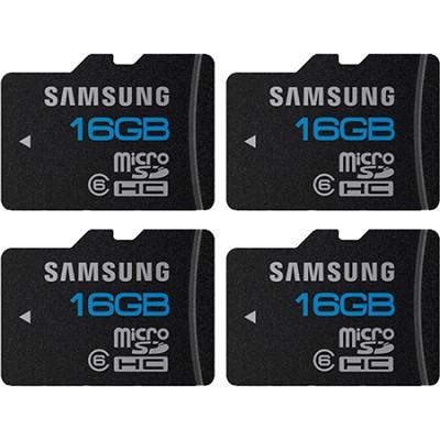 microSD High Speed 16GB Class 6 Memory Card Four Pack (Bulk Packaging)