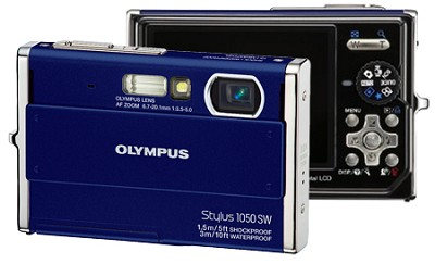 Stylus 1050SW 10MP Shockproof Waterproof Digital Camera (Blue) - REFURBISHED