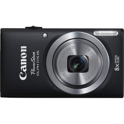 Powershot ELPH 115 IS Black 16MP Digital Camera with 8x Opt. Zoom and Smart AUTO