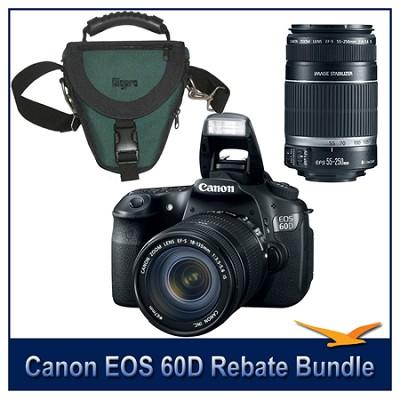 EOS 60D Camera w/ 18-135mm & 55-250mm Lenses and Case Bundle