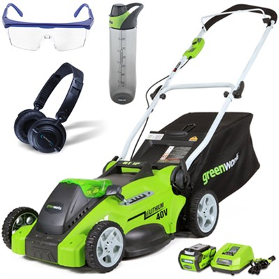40V 16` Cordless Lawn Mower w/ HP23 Headphones, 24oz Bottle & Safety Glasses Kit