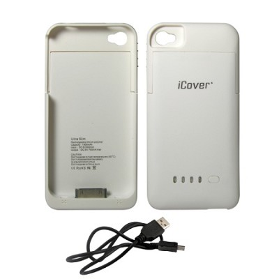 iPhone 4/4S Rubberized Protective 1900mAh Battery Case - White