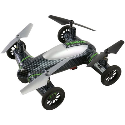 Fly and Drive Air and Land Carbon-Fiber Quadcopter Drone w/ HD Camera