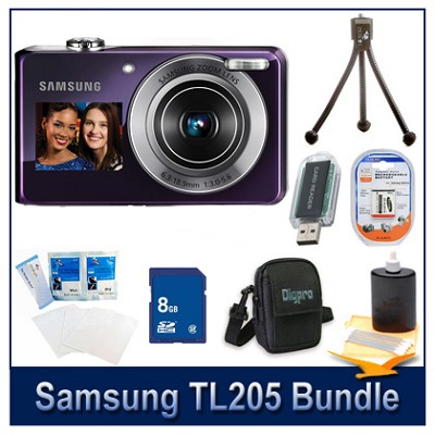 TL205 Digital Camera Violet Kit w/ 8GB Memory, Reader, Case, Tripod & More