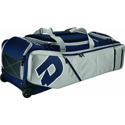 IDP Custom Black/Blue Baseball Softball Bag on Wheels - Navy/Silver