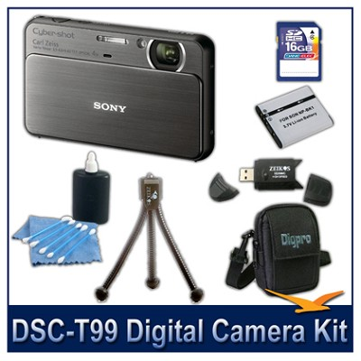 DSC-T99 14MP Black Touchscreen Digital Camera with 16GB Card, Case, and more