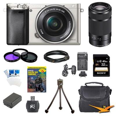 Alpha a6000 24.3MP Silver Interchangeable Lens Camera 16-50mm & 55-210mm Kit