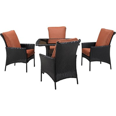 StrathAllure5pc Dining Set: Sq Glass Top Woven Table 4 Dining Chairs