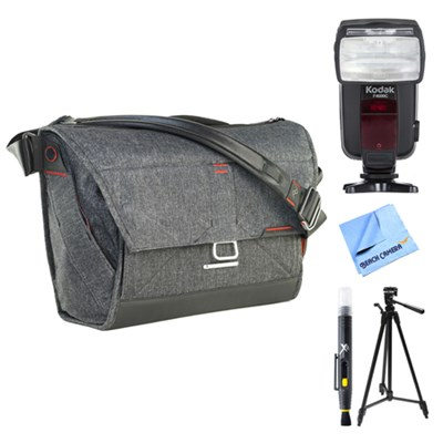 Everyday Messenger Bag 15` - Charcoal w/ Flash Bundle For Canon