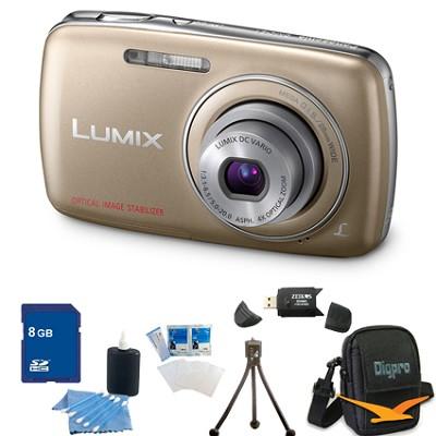 Lumix DMC-S1 12MP Compact Gold Digital Camera w/ 720p HD Video 8GB Bundle