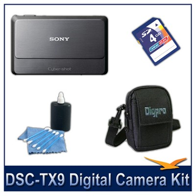 Cyber-shot DSC-TX9 Digital Camera (Grey) with 4GB Card, Case, and More