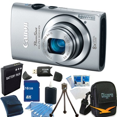 PowerShot ELPH 310 HS 12MP Silver Digital Camera 16GB Bundle