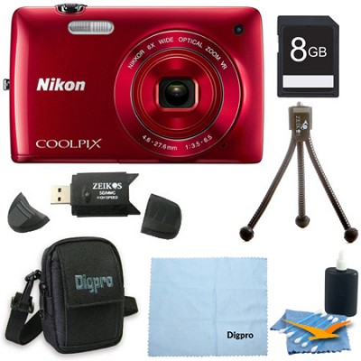 COOLPIX S4300 16MP 3-inch Touch Screen Digital Camera 8GB Red Bundle