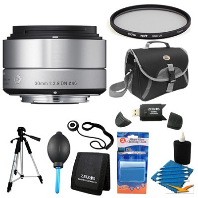 30mm F2.8 EX DN ART Silver E-Mount Lens for Sony Filter Bundle