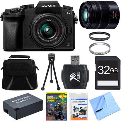 LUMIX G7 Mirrorless 4K UHD Camera w/ 14-42mm & 45-150mm Deluxe Dual Lens Bundle