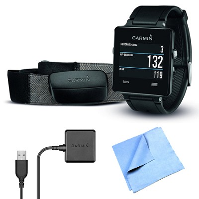 vivoactive GPS Smartwatch Black w/ Heart Rate Monitor Charging Clip Bundle