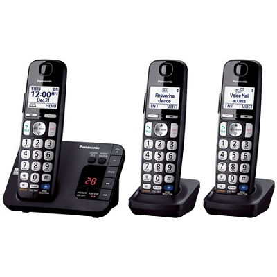 KX-TGE233B DECT 6.0 Expandable Digital Cordless Answering System, 3 Handsets