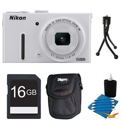 COOLPIX P330 White Digital Camera 16GB Bundle