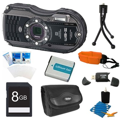 Optio WG-3 Waterproof Digital Camera -  Black  8GB Bundle