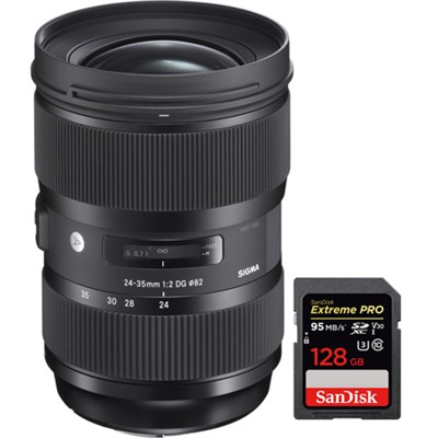 24-35mm F2 DG HSM Standard-Zoom ART Lens for Canon with 128GB Memory Card