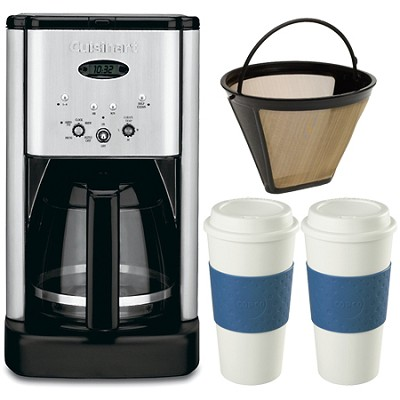 DCC-1200 Brew Central 12 Cup Coffeemaker Gold Tone Filter Two 16 Oz Mugs Bundle
