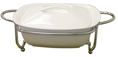 Super White Ceramic Serveware With Caddy Casserole with cover 11`