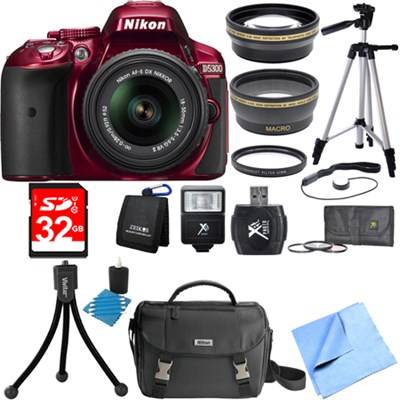 D5300 DX-Format Digital SLR Red with 18-55mm DX VR II Lens Deluxe Bundle