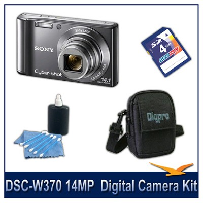 Cyber-shot DSC-W370 14MP Silver Digital Camera   with 4GB Card, Case, and More