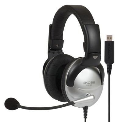 Communication Headset with Mic and USB in Soft Leatherette Black/Silver - 178203