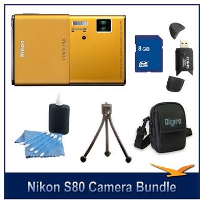 COOLPIX S80 Gold Camera 8GB Bundle w/ Case, Reader, Tripod & More