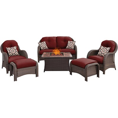 Newport 6-Piece Woven Seating Set in Crimson Red - NEWPT6PCFP-RED-WG
