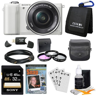 a5000 Compact Interchangeable Lens Camera White w 16-50mm Power Zoom Lens Bundle