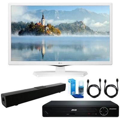 24` HD LED TV - White 2017 Model w/ HDMI DVD Player & Sound Bar Bundle