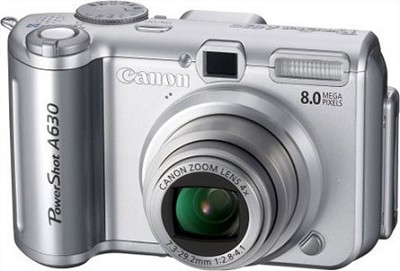 Powershot A630 8MP Camera with 4x optical zoom lens and 2.5` LCD