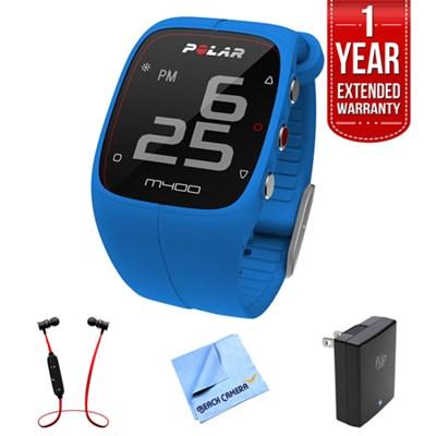 M400 GPS Smart Sports Watch, Blue w/ Extended Warranty Bundle