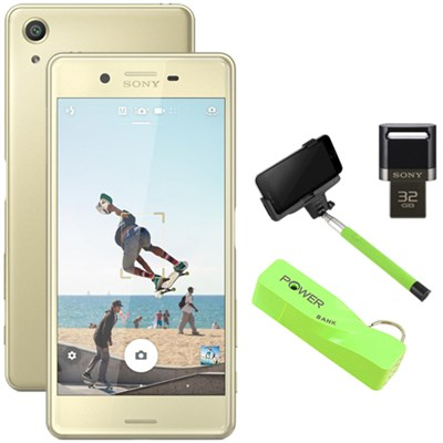 Xperia X Performance 32GB 5` Smartphone Unlocked Mobile Selfie Bundle, Lime Gold