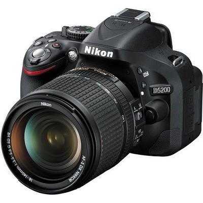 D5200 DX-format Black Digital SLR Camera Kit with 18-140mm VR Lens