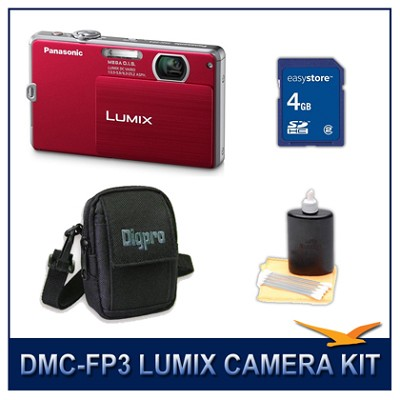 DMC-FP3R LUMIX 14.1 MP Digital Camera (Red), 4GB SD Card, and Camera Case