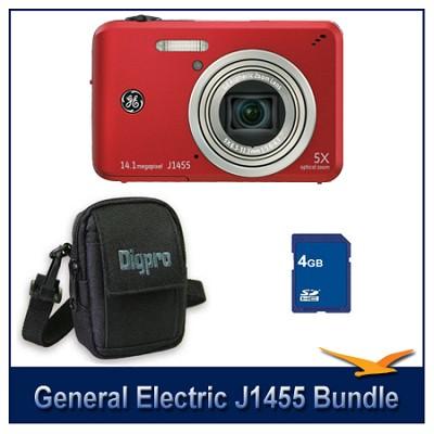 J1455 14MP Smart Series Red Digital Camera 4GB Memory Card and Case Bundle